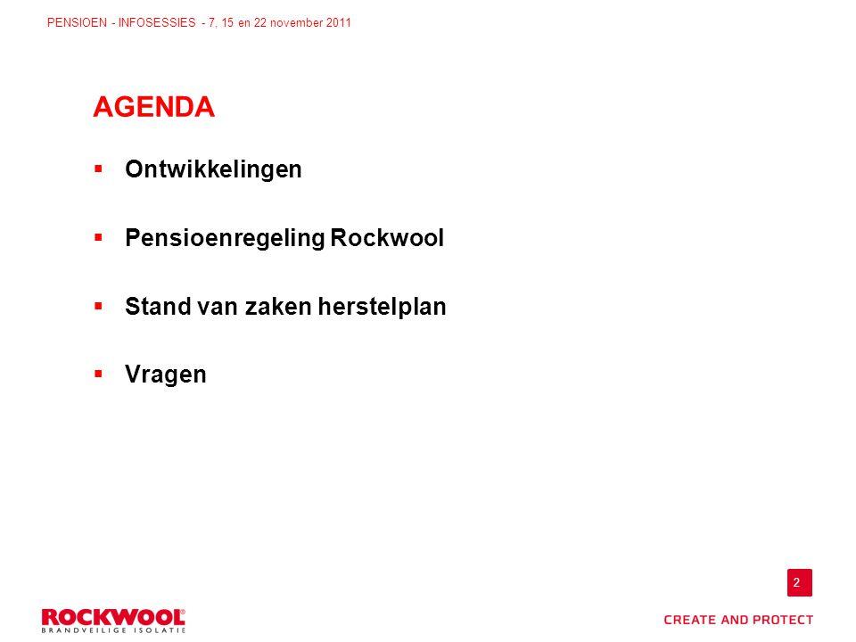 2 PENSIOEN - INFOSESSIES - 7, 15 en 22 november 2011  Ontwikkelingen  Pensioenregeling Rockwool  Stand van zaken herstelplan  Vragen AGENDA