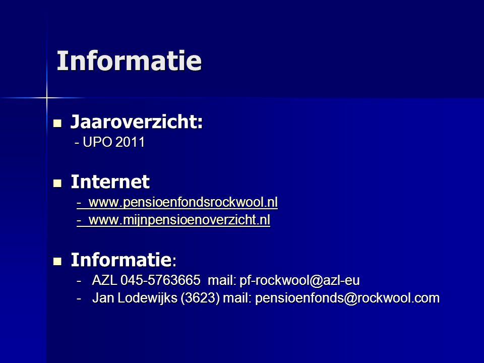 Informatie  Jaaroverzicht: - UPO 2011 - UPO 2011  Internet - www.pensioenfondsrockwool.nl - www.pensioenfondsrockwool.nl - www.mijnpensioenoverzicht.nl - www.mijnpensioenoverzicht.nl  Informatie : - AZL 045-5763665 mail: pf-rockwool@azl-eu - Jan Lodewijks (3623) mail: pensioenfonds@rockwool.com