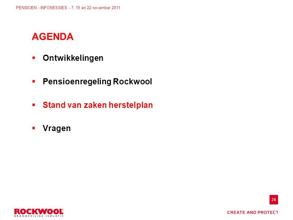 24 PENSIOEN - INFOSESSIES - 7, 15 en 22 november 2011  Ontwikkelingen  Pensioenregeling Rockwool  Stand van zaken herstelplan  Vragen AGENDA