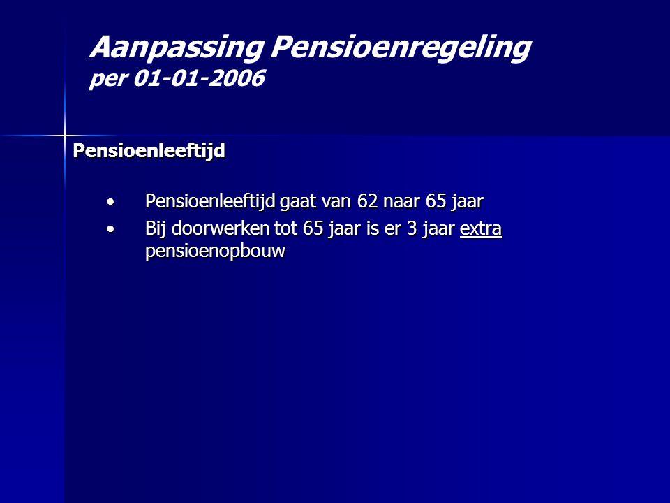 Aanpassing Pensioenregeling per 01-01-2006 Pensioenleeftijd •Pensioenleeftijd gaat van 62 naar 65 jaar •Bij doorwerken tot 65 jaar is er 3 jaar extra pensioenopbouw