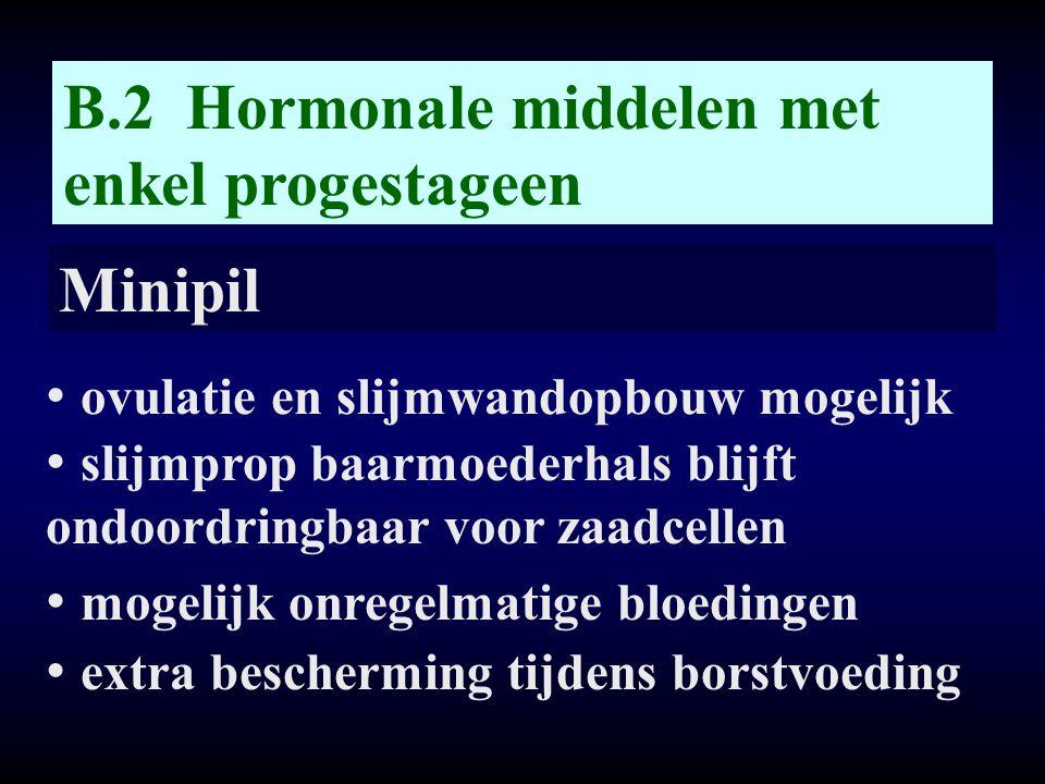 B.2 Hormonale middelen met enkel progestageen Minipil • ovulatie en slijmwandopbouw mogelijk • slijmprop baarmoederhals blijft ondoordringbaar voor za