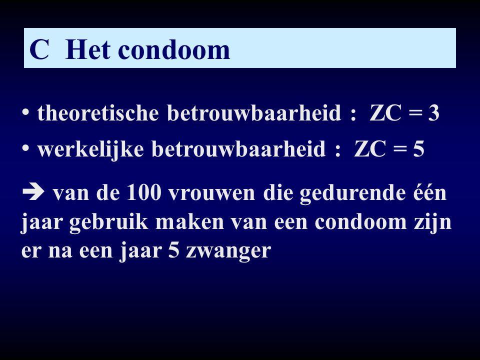 C Het condoom • theoretische betrouwbaarheid : ZC = 3 • werkelijke betrouwbaarheid : ZC = 5  van de 100 vrouwen die gedurende één jaar gebruik maken