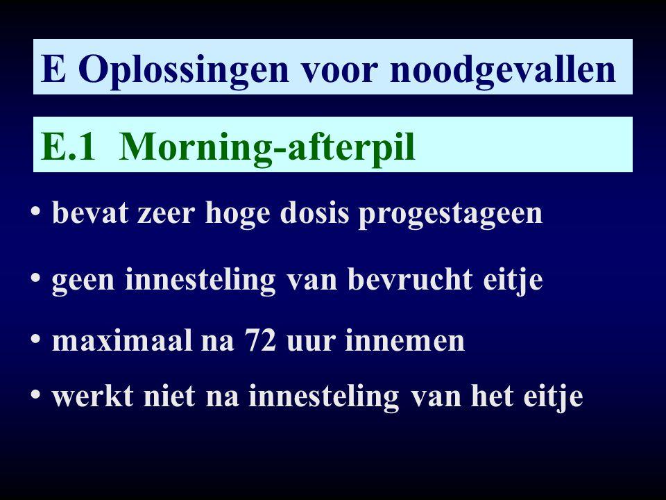 E Oplossingen voor noodgevallen E.1 Morning-afterpil • bevat zeer hoge dosis progestageen • geen innesteling van bevrucht eitje • maximaal na 72 uur i