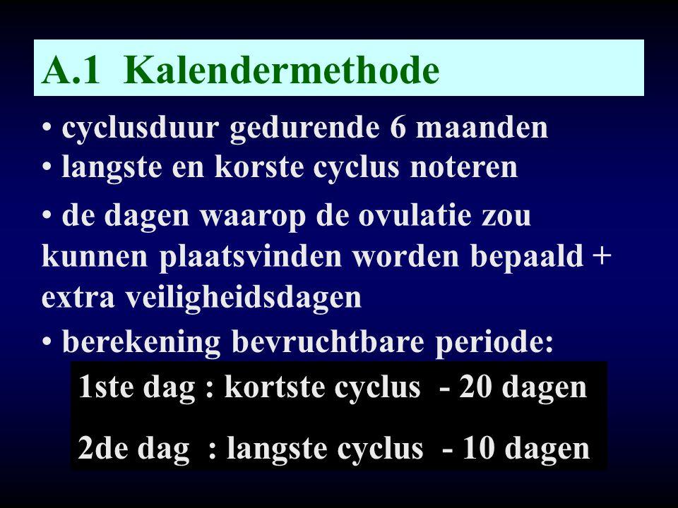 A.1 Kalendermethode • cyclusduur gedurende 6 maanden • langste en korste cyclus noteren • de dagen waarop de ovulatie zou kunnen plaatsvinden worden b