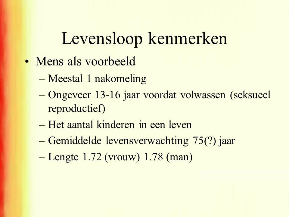 Levensloop kenmerken •Mens als voorbeeld –Meestal 1 nakomeling –Ongeveer 13-16 jaar voordat volwassen (seksueel reproductief) –Het aantal kinderen in