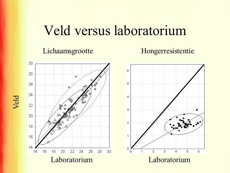 Veld versus laboratorium LichaamsgrootteHongerresistentie Laboratorium Veld