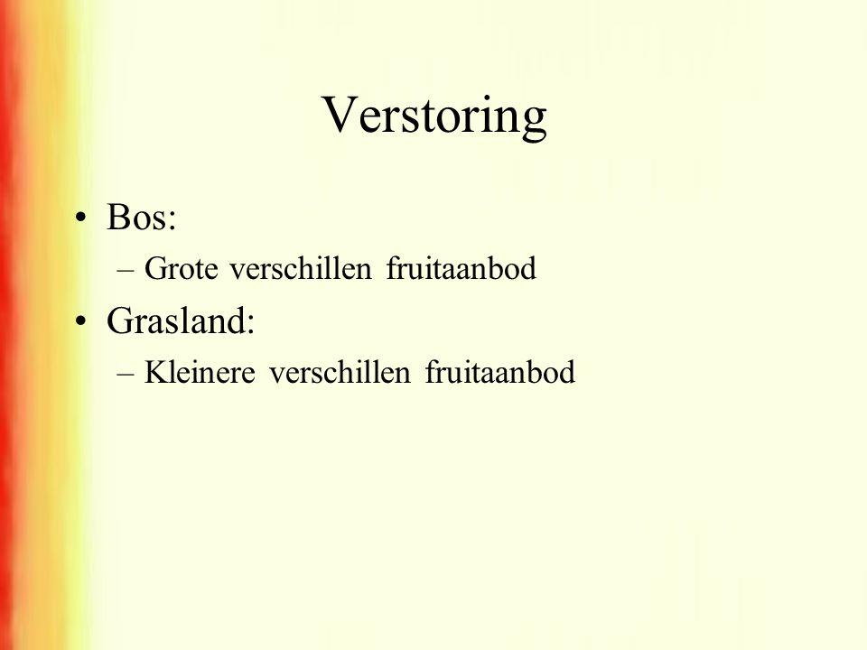 Verstoring •Bos: –Grote verschillen fruitaanbod •Grasland: –Kleinere verschillen fruitaanbod