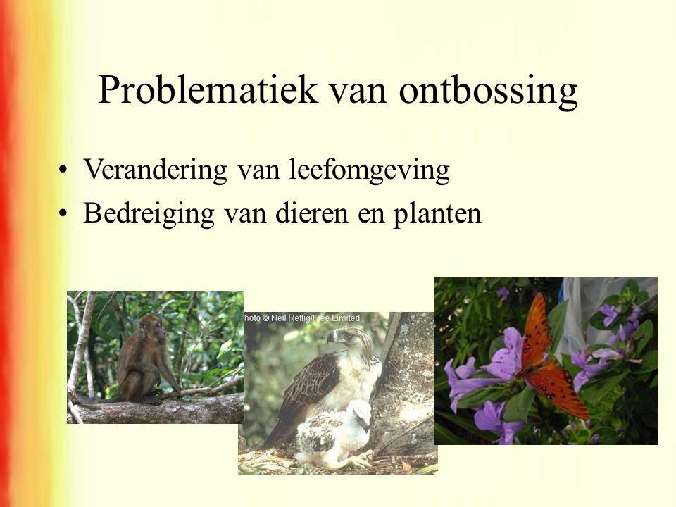 Problematiek van ontbossing •Verandering van leefomgeving •Bedreiging van dieren en planten