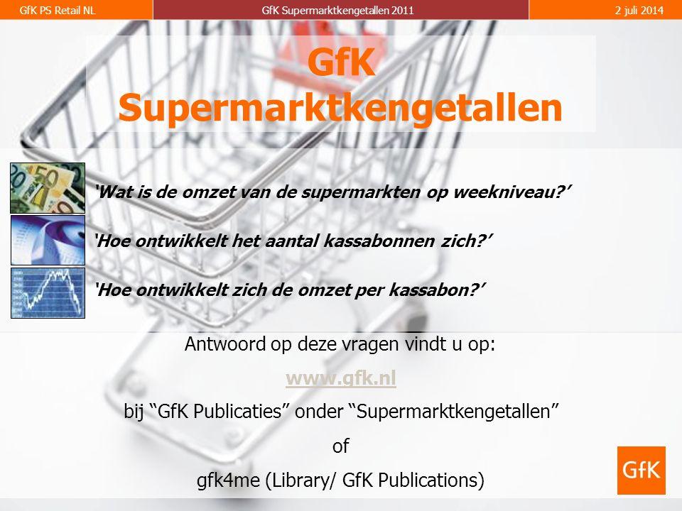 GfK PS Retail NLGfK Supermarktkengetallen 20112 juli 2014 GfK Supermarktkengetallen Antwoord op deze vragen vindt u op: www.gfk.nl bij GfK Publicaties onder Supermarktkengetallen of gfk4me (Library/ GfK Publications) 'Hoe ontwikkelt het aantal kassabonnen zich?' 'Wat is de omzet van de supermarkten op weekniveau?' 'Hoe ontwikkelt zich de omzet per kassabon?'