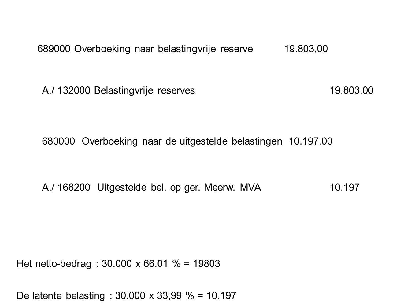689000 Overboeking naar belastingvrije reserve19.803,00 Het netto-bedrag : 30.000 x 66,01 % = 19803 A./ 132000 Belastingvrije reserves19.803,00 680000