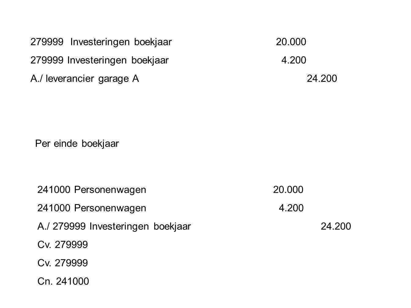 279999 Investeringen boekjaar 20.000 279999 Investeringen boekjaar 4.200 A./ leverancier garage A 24.200 Per einde boekjaar 241000 Personenwagen 20.00