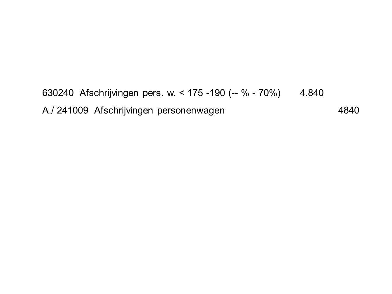 630240 Afschrijvingen pers. w. < 175 -190 (-- % - 70%) 4.840 A./ 241009 Afschrijvingen personenwagen 4840