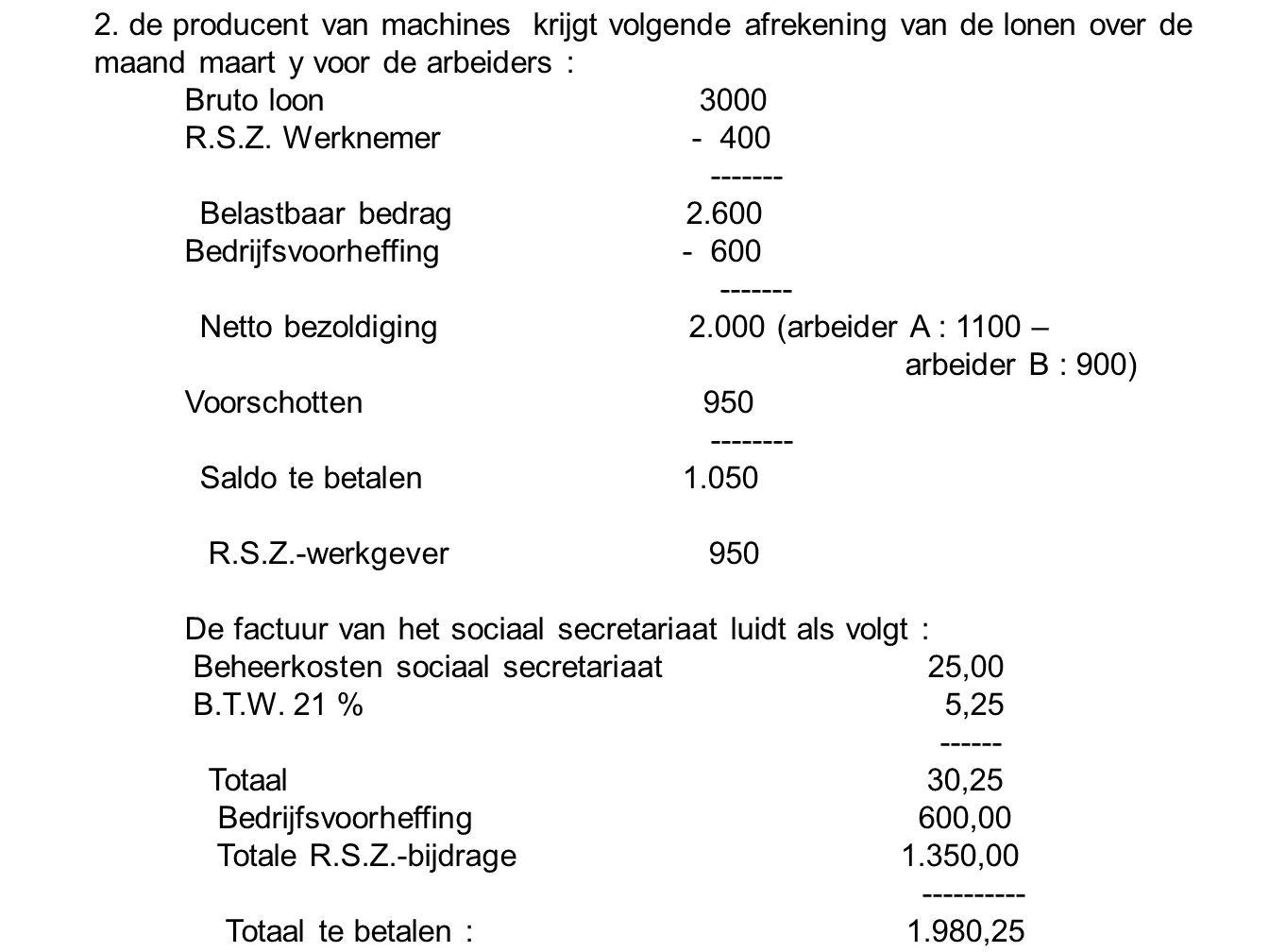 2. de producent van machines krijgt volgende afrekening van de lonen over de maand maart y voor de arbeiders : Bruto loon 3000 R.S.Z. Werknemer - 400