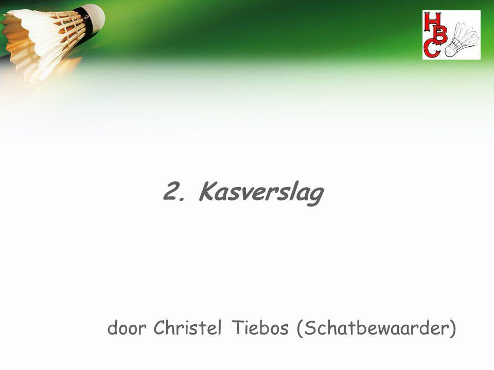 2. Kasverslag door Christel Tiebos (Schatbewaarder)