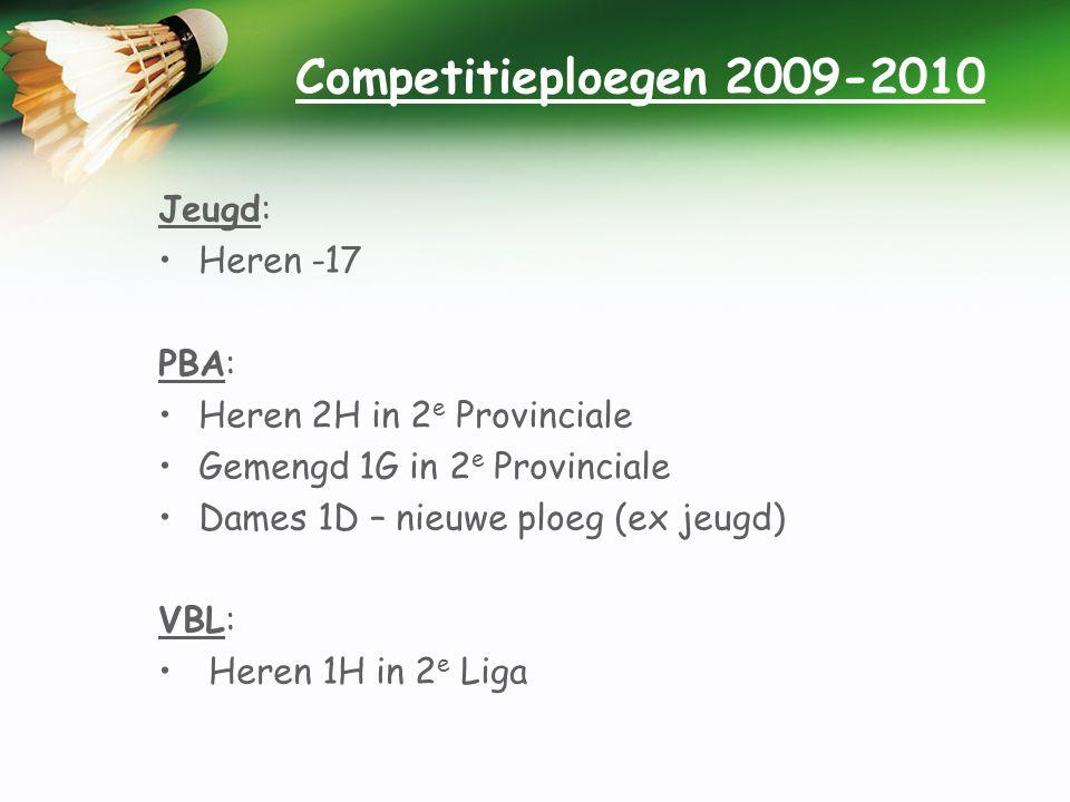 Competitieploegen 2009-2010 Jeugd: •Heren -17 PBA: •Heren 2H in 2 e Provinciale •Gemengd 1G in 2 e Provinciale •Dames 1D – nieuwe ploeg (ex jeugd) VBL