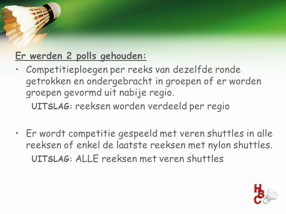 Er werden 2 polls gehouden: •Competitieploegen per reeks van dezelfde ronde getrokken en ondergebracht in groepen of er worden groepen gevormd uit nab