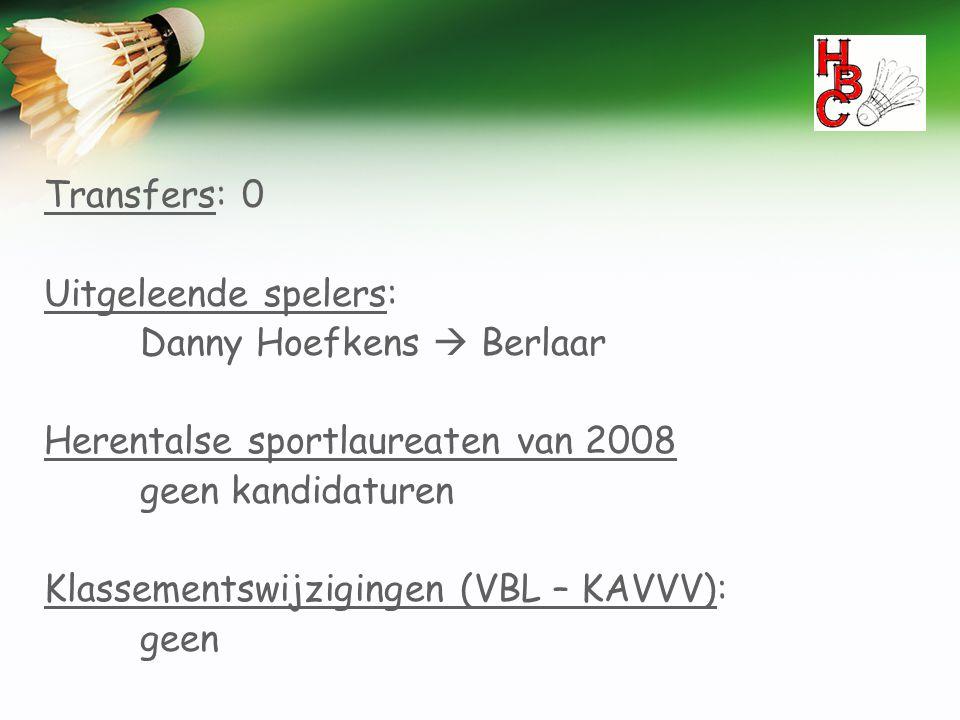 Transfers: 0 Uitgeleende spelers: Danny Hoefkens  Berlaar Herentalse sportlaureaten van 2008 geen kandidaturen Klassementswijzigingen (VBL – KAVVV):