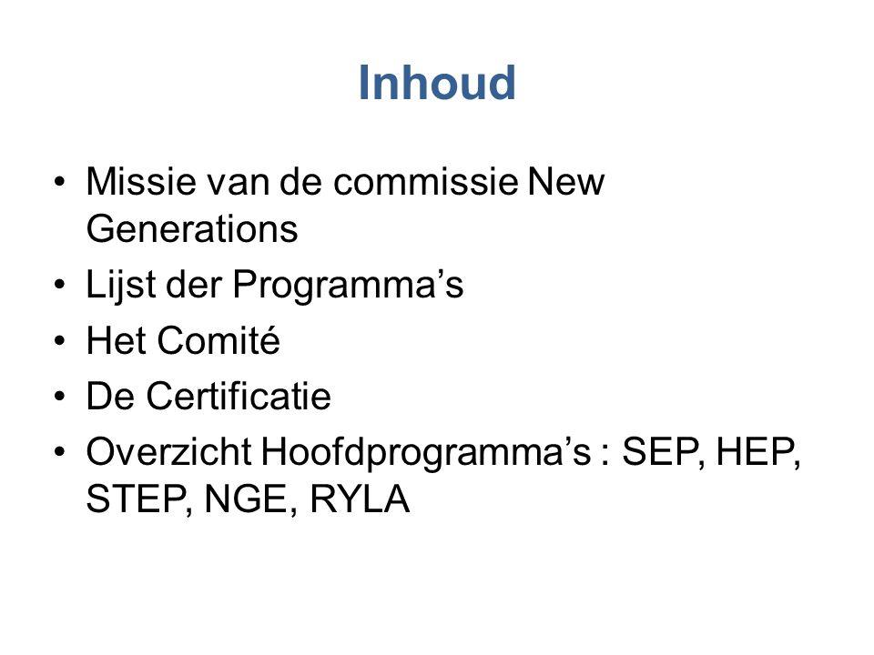 Inhoud •Missie van de commissie New Generations •Lijst der Programma's •Het Comité •De Certificatie •Overzicht Hoofdprogramma's : SEP, HEP, STEP, NGE,