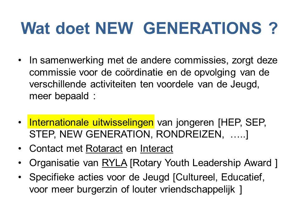 Wat doet NEW GENERATIONS ? •In samenwerking met de andere commissies, zorgt deze commissie voor de coördinatie en de opvolging van de verschillende ac