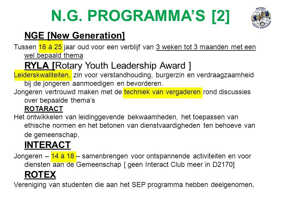 N.G. PROGRAMMA'S [2] NGE [New Generation] Tussen 18 à 25 jaar oud voor een verblijf van 3 weken tot 3 maanden met een wel bepaald thema RYLA [Rotary Y