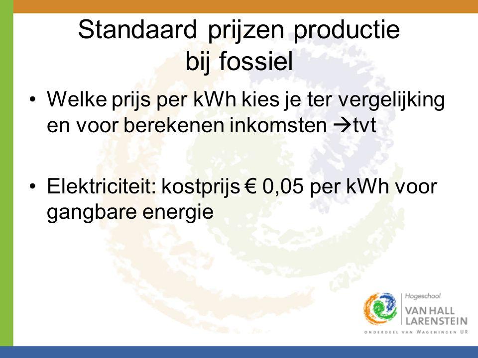 Standaard prijzen productie bij fossiel •Welke prijs per kWh kies je ter vergelijking en voor berekenen inkomsten  tvt •Elektriciteit: kostprijs € 0,