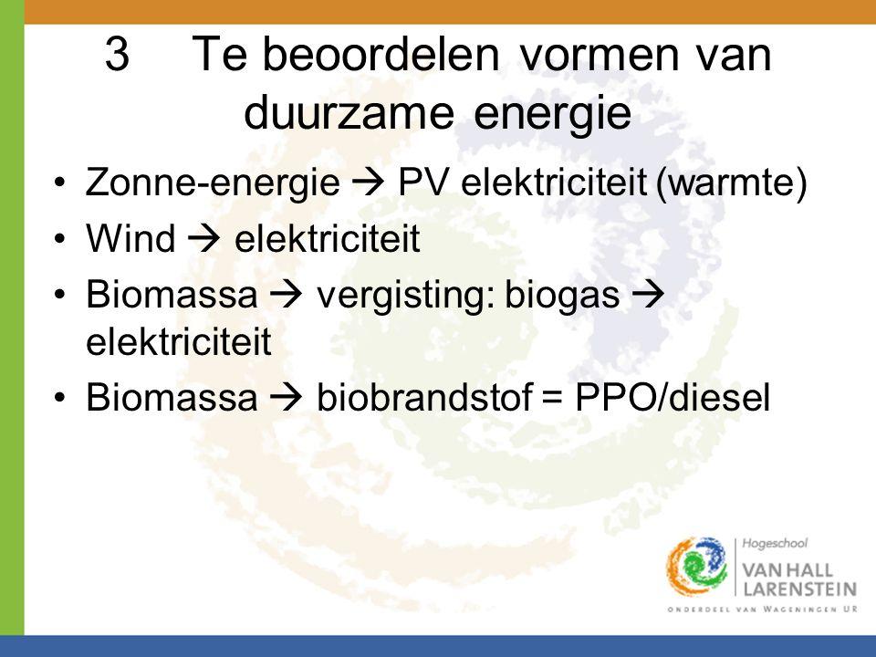 3Te beoordelen vormen van duurzame energie •Zonne-energie  PV elektriciteit (warmte) •Wind  elektriciteit •Biomassa  vergisting: biogas  elektrici
