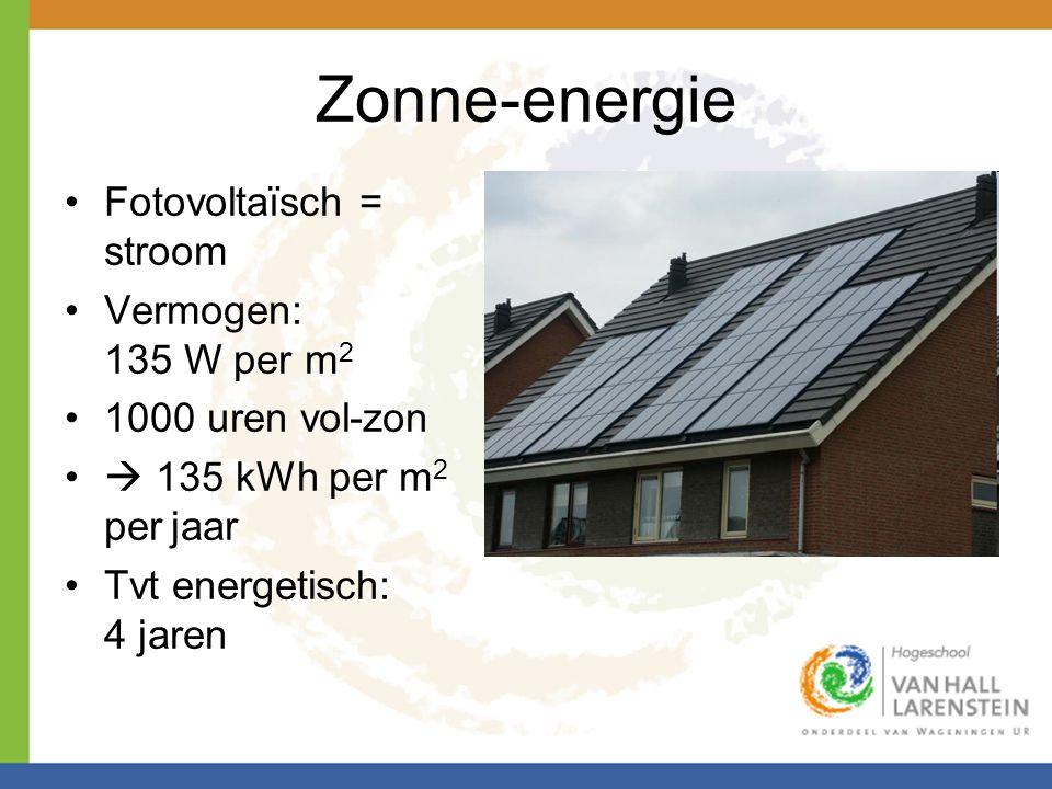 Zonne-energie •Fotovoltaïsch = stroom •Vermogen: 135 W per m 2 •1000 uren vol-zon •  135 kWh per m 2 per jaar •Tvt energetisch: 4 jaren