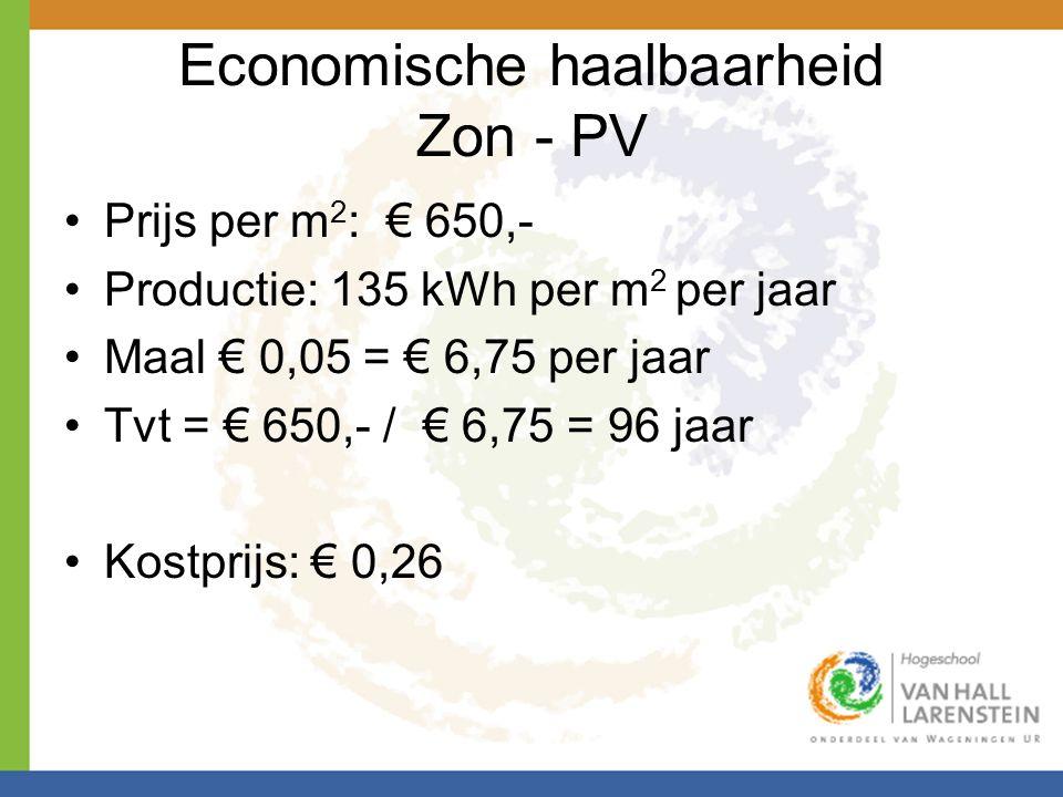 Economische haalbaarheid Zon - PV •Prijs per m 2 : € 650,- •Productie: 135 kWh per m 2 per jaar •Maal € 0,05 = € 6,75 per jaar •Tvt = € 650,- / € 6,75