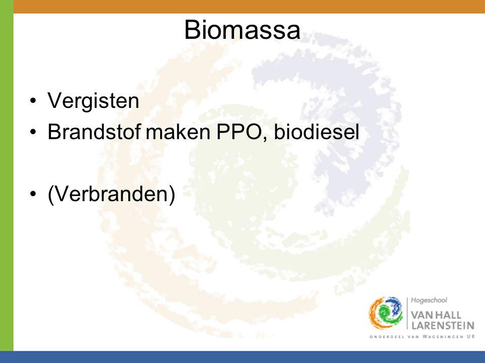 Biomassa •Vergisten •Brandstof maken PPO, biodiesel •(Verbranden)