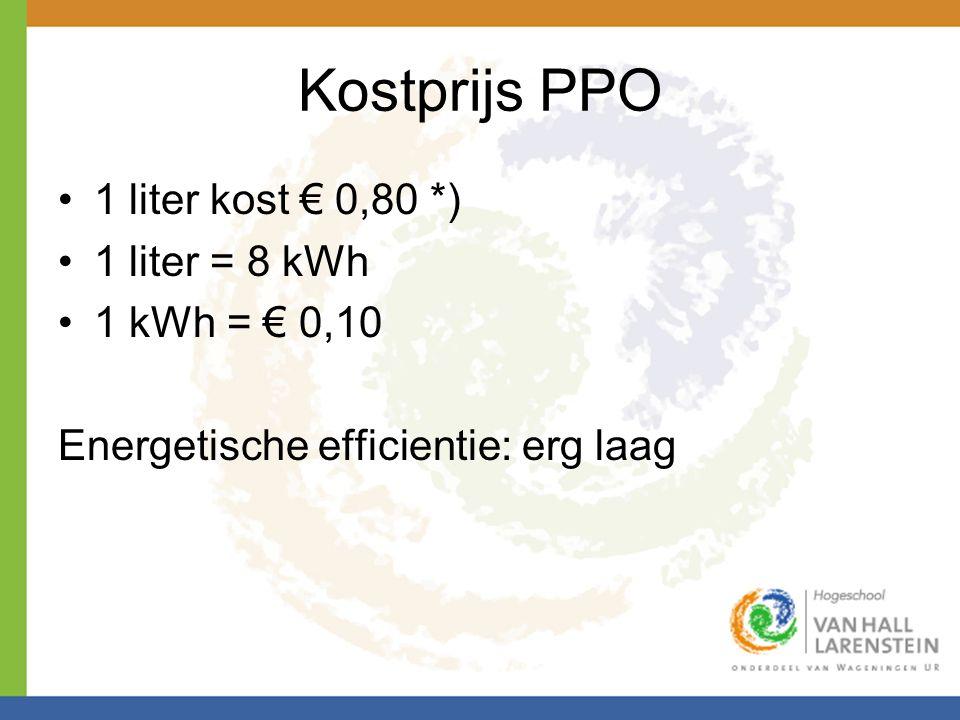 Kostprijs PPO •1 liter kost € 0,80 *) •1 liter = 8 kWh •1 kWh = € 0,10 Energetische efficientie: erg laag