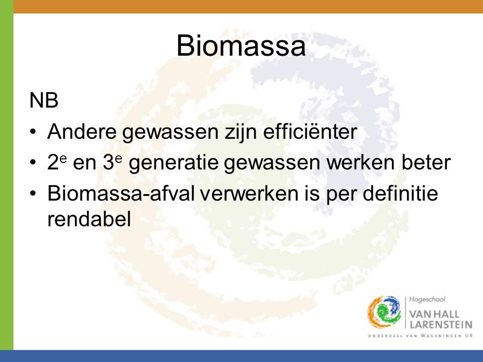 Biomassa NB •Andere gewassen zijn efficiënter •2 e en 3 e generatie gewassen werken beter •Biomassa-afval verwerken is per definitie rendabel