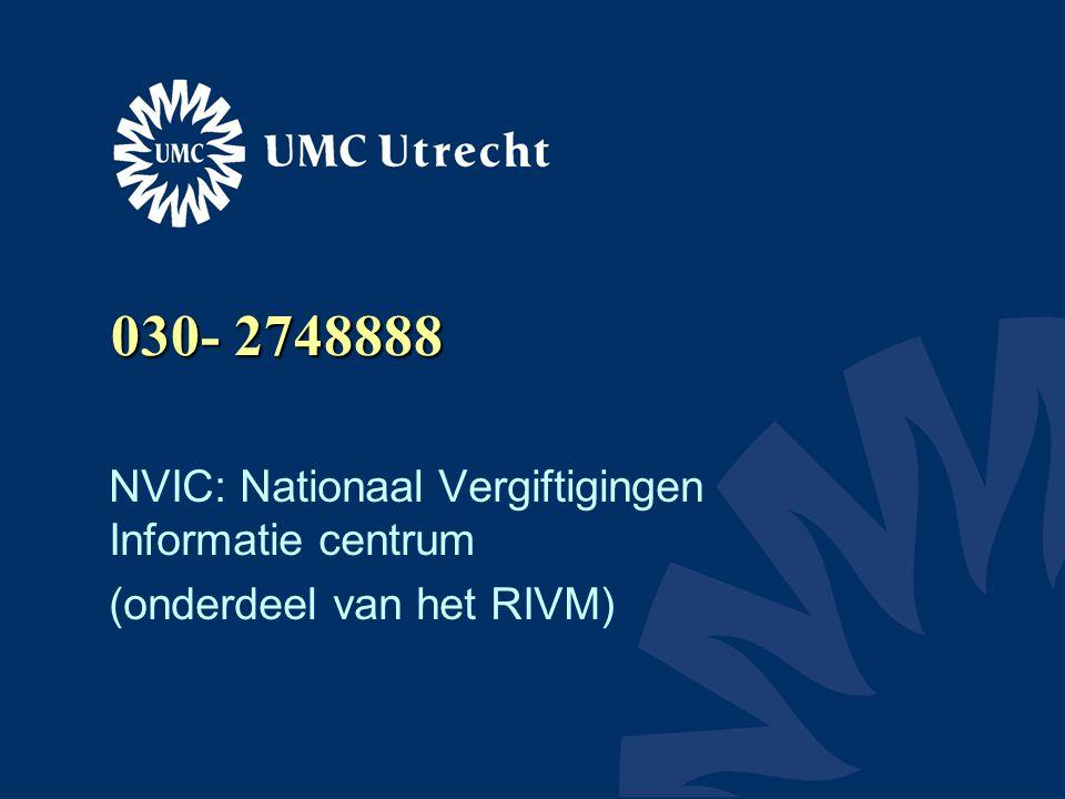 030- 2748888 NVIC: Nationaal Vergiftigingen Informatie centrum (onderdeel van het RIVM)