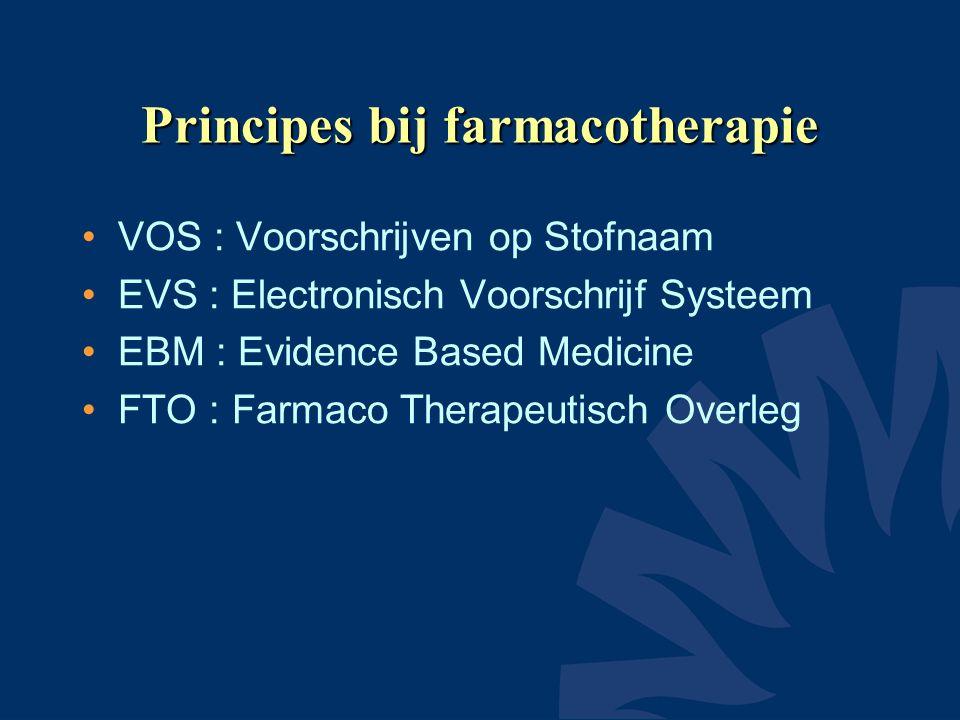 Principes bij farmacotherapie •VOS : Voorschrijven op Stofnaam •EVS : Electronisch Voorschrijf Systeem •EBM : Evidence Based Medicine •FTO : Farmaco Therapeutisch Overleg