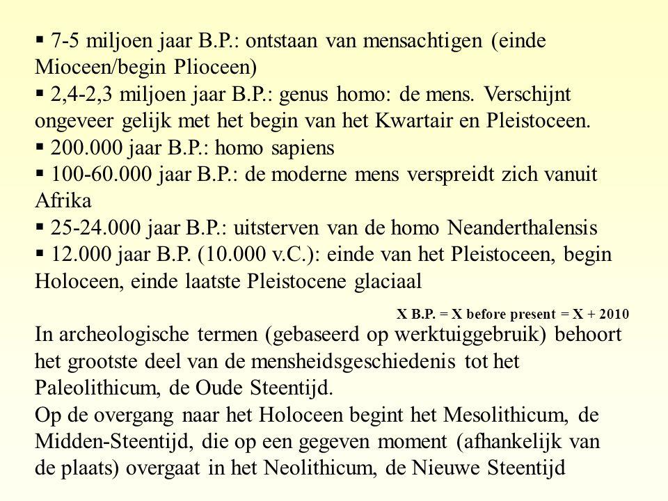 X B.P. = X before present = X + 2010  7-5 miljoen jaar B.P.: ontstaan van mensachtigen (einde Mioceen/begin Plioceen)  2,4-2,3 miljoen jaar B.P.: ge