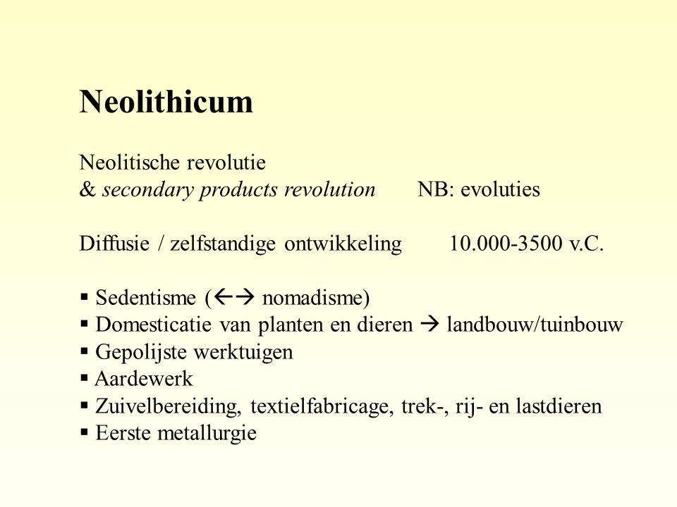 Neolithicum Neolitische revolutie & secondary products revolutionNB: evoluties Diffusie / zelfstandige ontwikkeling 10.000-3500 v.C.  Sedentisme ( 