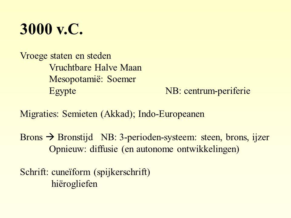 3000 v.C. Vroege staten en steden Vruchtbare Halve Maan Mesopotamië: Soemer EgypteNB: centrum-periferie Migraties: Semieten (Akkad); Indo-Europeanen B