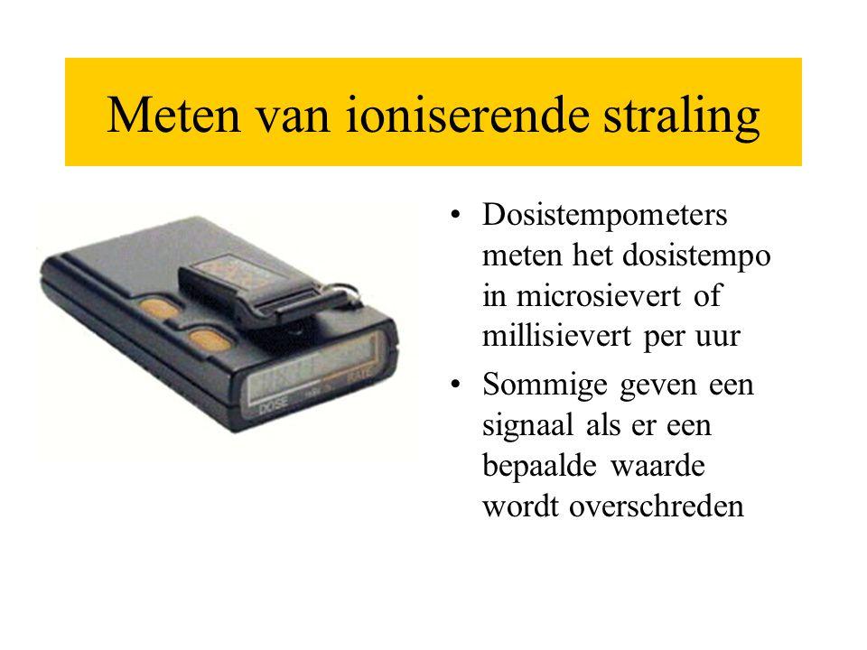 Meten van ioniserende straling •Dosistempometers meten het dosistempo in microsievert of millisievert per uur •Sommige geven een signaal als er een be