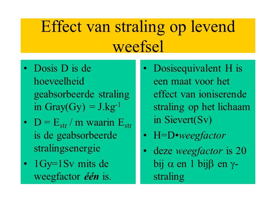 Effect van straling op levend weefsel •Dosis D is de hoeveelheid geabsorbeerde straling in Gray(Gy) = J.kg -1 •D = E str / m waarin E str is de geabso