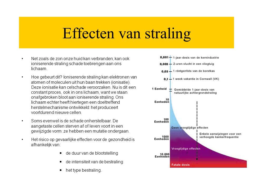 Effecten van straling •Net zoals de zon onze huid kan verbranden, kan ook ioniserende straling schade toebrengen aan ons lichaam. •Hoe gebeurt dit? Io