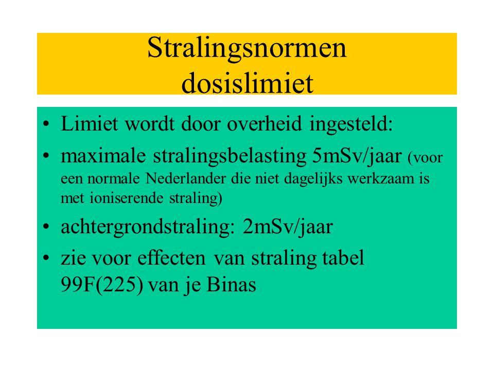Stralingsnormen dosislimiet •Limiet wordt door overheid ingesteld: •maximale stralingsbelasting 5mSv/jaar (voor een normale Nederlander die niet dagel