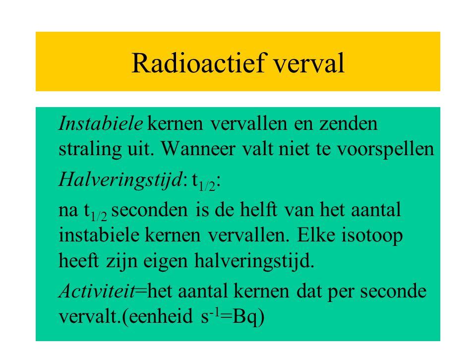 Radioactief verval Instabiele kernen vervallen en zenden straling uit. Wanneer valt niet te voorspellen Halveringstijd: t 1/2 : na t 1/2 seconden is d
