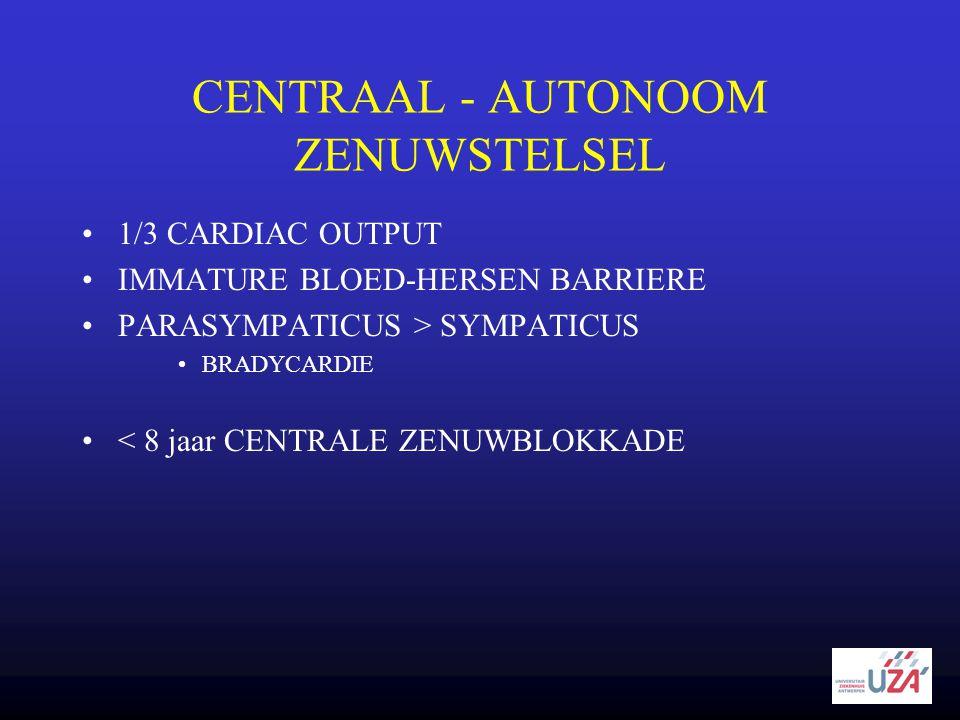 CENTRAAL - AUTONOOM ZENUWSTELSEL •1/3 CARDIAC OUTPUT •IMMATURE BLOED-HERSEN BARRIERE •PARASYMPATICUS > SYMPATICUS •BRADYCARDIE •< 8 jaar CENTRALE ZENU