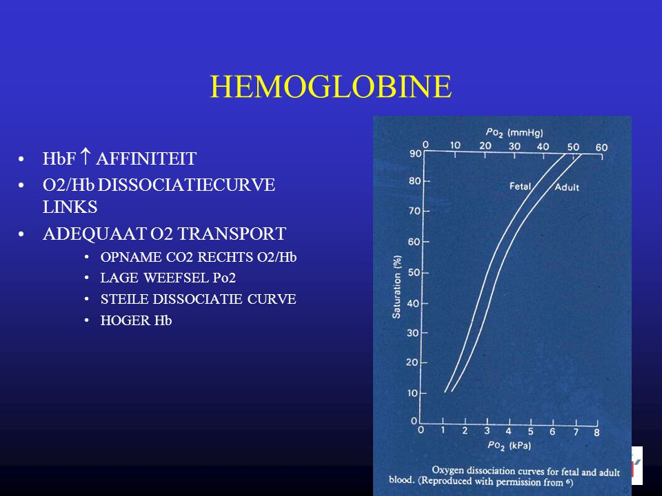•HbF  AFFINITEIT •O2/Hb DISSOCIATIECURVE LINKS •ADEQUAAT O2 TRANSPORT •OPNAME CO2 RECHTS O2/Hb •LAGE WEEFSEL Po2 •STEILE DISSOCIATIE CURVE •HOGER Hb