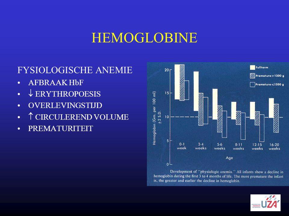 HEMOGLOBINE FYSIOLOGISCHE ANEMIE •AFBRAAK HbF •  ERYTHROPOESIS •OVERLEVINGSTIJD •  CIRCULEREND VOLUME •PREMATURITEIT