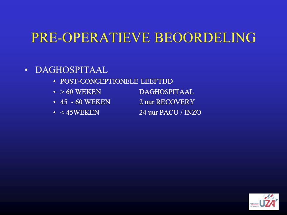 PRE-OPERATIEVE BEOORDELING •DAGHOSPITAAL •POST-CONCEPTIONELE LEEFTIJD •> 60 WEKENDAGHOSPITAAL •45 - 60 WEKEN2 uur RECOVERY •< 45WEKEN24 uur PACU / INZ