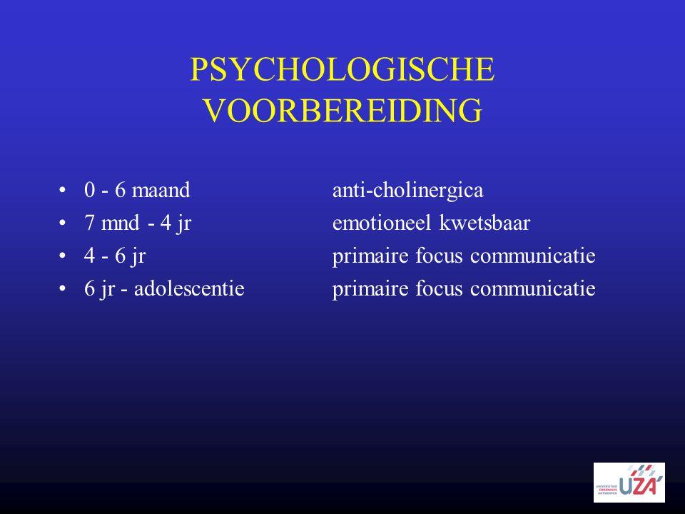 PSYCHOLOGISCHE VOORBEREIDING •0 - 6 maandanti-cholinergica •7 mnd - 4 jremotioneel kwetsbaar •4 - 6 jrprimaire focus communicatie •6 jr - adolescentie