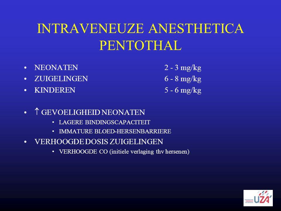 INTRAVENEUZE ANESTHETICA PENTOTHAL •NEONATEN2 - 3 mg/kg •ZUIGELINGEN6 - 8 mg/kg •KINDEREN5 - 6 mg/kg •  GEVOELIGHEID NEONATEN •LAGERE BINDINGSCAPACIT