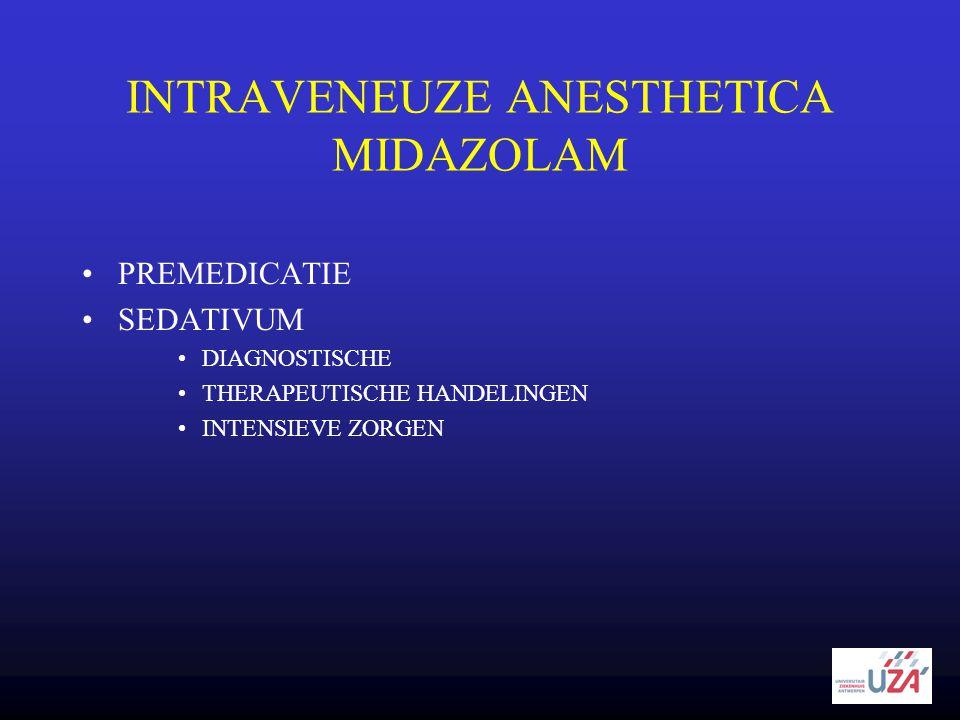 INTRAVENEUZE ANESTHETICA MIDAZOLAM •PREMEDICATIE •SEDATIVUM •DIAGNOSTISCHE •THERAPEUTISCHE HANDELINGEN •INTENSIEVE ZORGEN