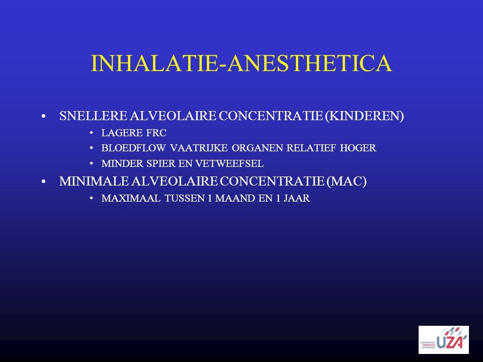INHALATIE-ANESTHETICA •SNELLERE ALVEOLAIRE CONCENTRATIE (KINDEREN) •LAGERE FRC •BLOEDFLOW VAATRIJKE ORGANEN RELATIEF HOGER •MINDER SPIER EN VETWEEFSEL