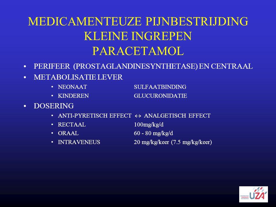 MEDICAMENTEUZE PIJNBESTRIJDING KLEINE INGREPEN PARACETAMOL •PERIFEER (PROSTAGLANDINESYNTHETASE) EN CENTRAAL •METABOLISATIE LEVER •NEONAATSULFAATBINDIN